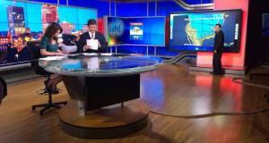 Rehearsing for the NH1 newscast (photo: Rick Zach/WBIN)
