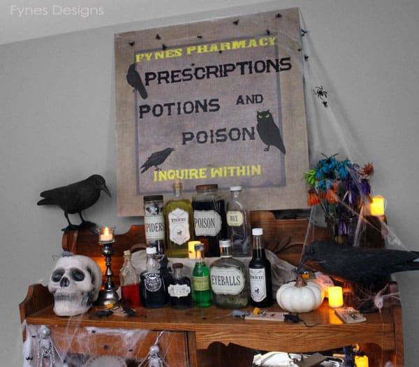 Halloween vignette- DIY decoupage Apothecary jars #MSHalloween