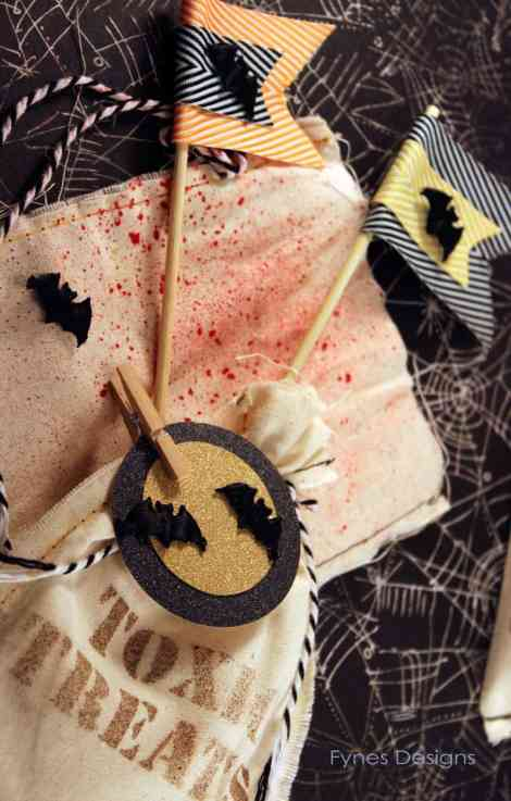 blood splattered halloween treat bags with red Mr. Huey mist