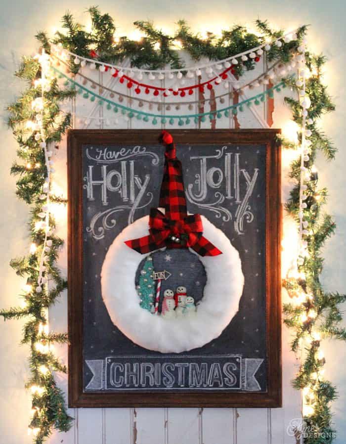 Fun Glittery snowman wreath