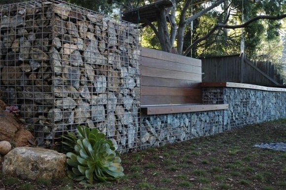 gabion wall with seating