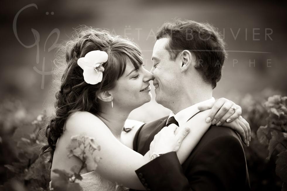 Photo de couple dans les vignes