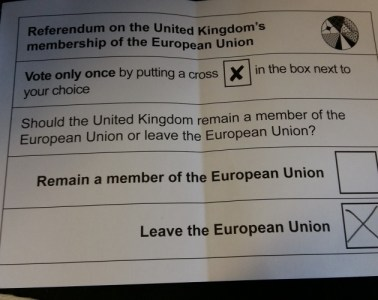 An image of the EU Referendum polling card with an X next to Leave