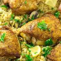 Crispy Skillet Chicken Thighs with Lemon Garlic Orzo