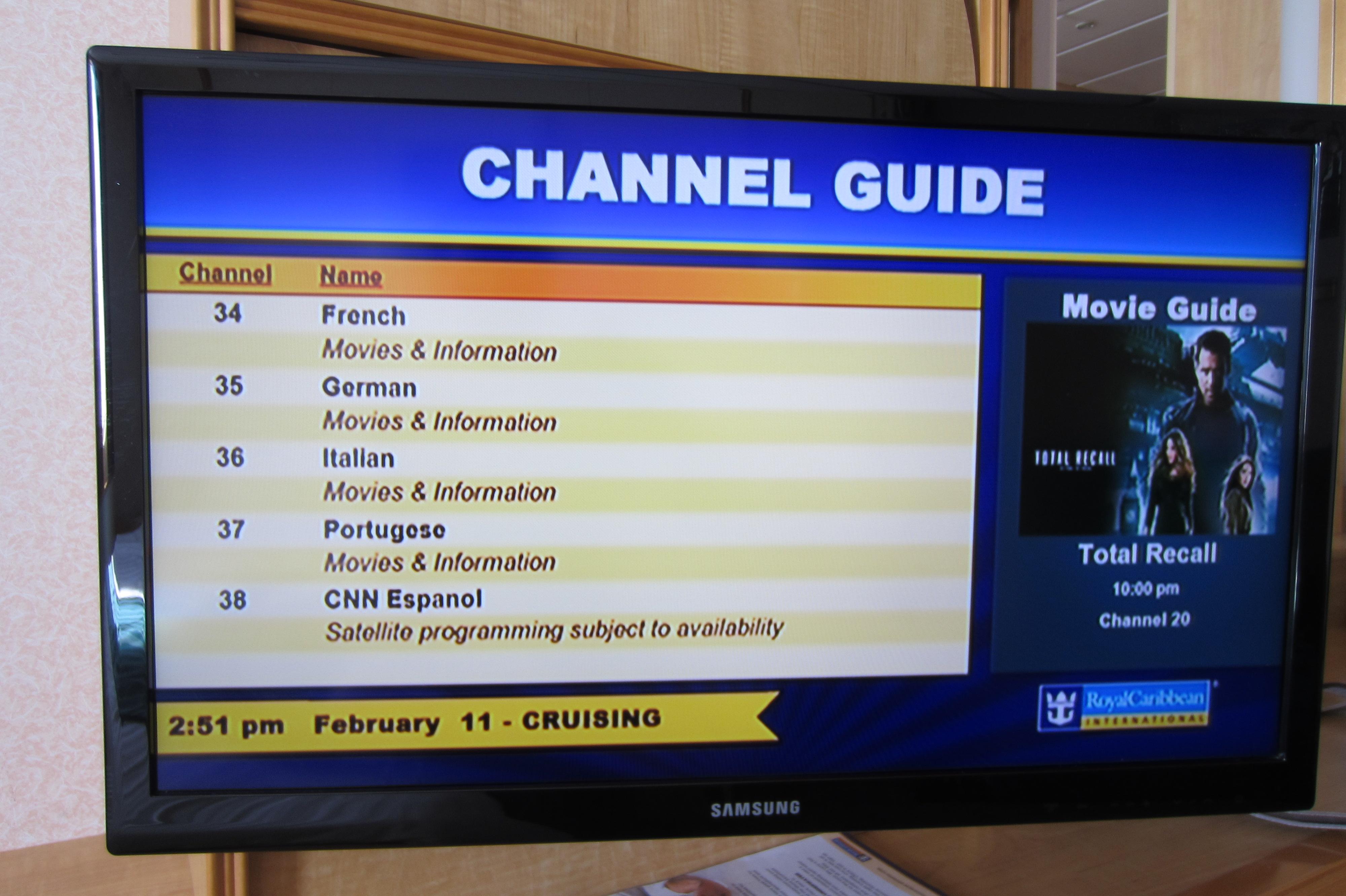 Cruise Ship TV Channels  Galveston Cruise Tips