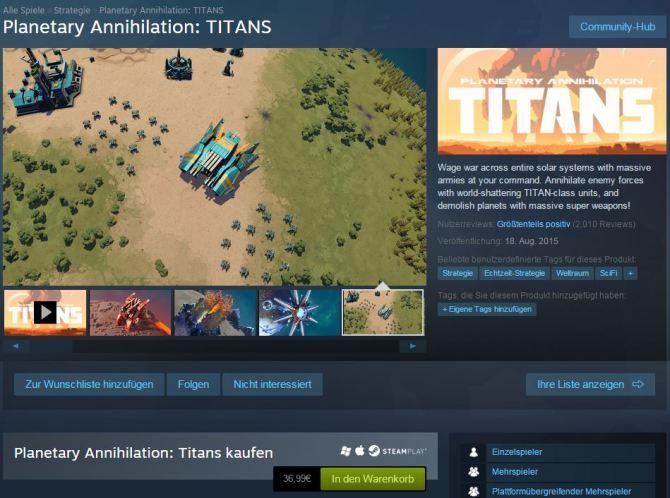 Planetary Annihilation - TITANS - Das Grundspiel nochmal zum Vollpreis kaufen