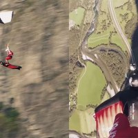 Skydiver and Wingsuit Pilot Pull Off Insane Stunt