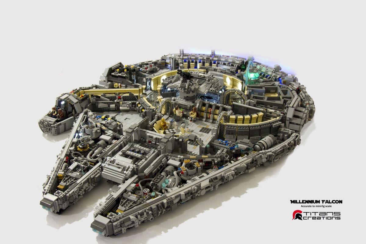 Star wars lego y el modelo del halc n milenario hecho con for Interior halcon milenario