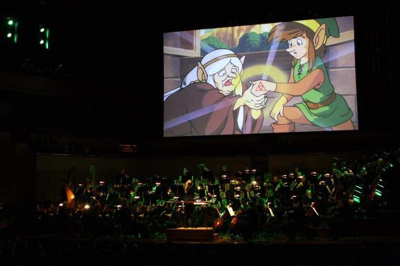 Video game images of 'Link' are displayed during The Legend of Zelda: Symphony of the Goddesses, on Jan. 10, 2012 at the Meyerson Symphony Center in Downtown Dallas. Ben Torres/Special Contributor
