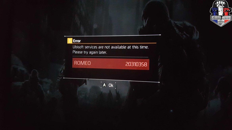 Tom Clancy's The Division ERROR (ROMEO 20310358) GAMERSRD