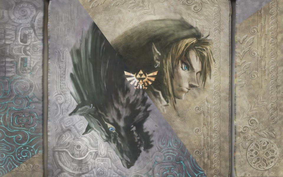 The Legend of Zelda Skyward Sword Wallpaper - based on cover art from game: Skyward Sword - link on brown scroll background - wolf on a grey background