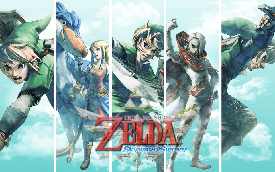 The Legend of Zelda: Skyward Sword Wallpaper - Features Zelda, Link, Giraham and more on a sky backdrop