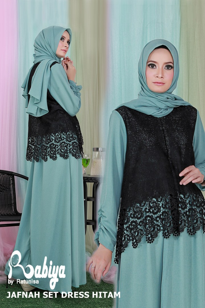 Baju Gamis Pesta Muslim Khaki Modern