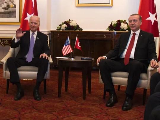 Vice President Joe Biden, left, attends a meeting with