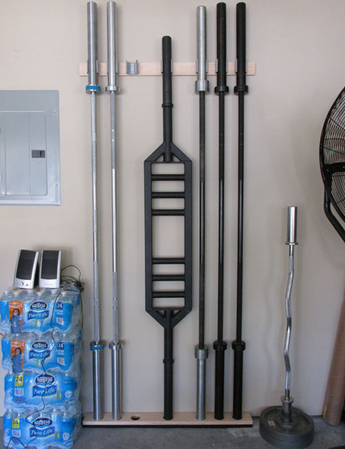 Space saving diy barbell rack bar storage