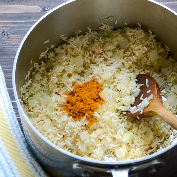 jeweled yellow rice and pignoli |Garlic + Zest