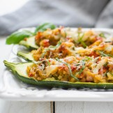 Stuffed Italian Zucchini Boats | Garlic + Zest