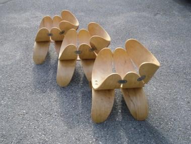 Stuhl Rücklehnen, Metall, Möbelwax. Chair back-rests, metal, wax. 52cm x 68cm x 53cm