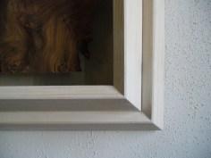 Walnuss Maser Furnier, lackiert. Fichtenrahmen, weiß lasiert. Walnut Burl veneer painted, white stained Spruce frame. 91.5cm x 74cm x 11cm