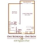 1BR / 1Bath610 Square Feet