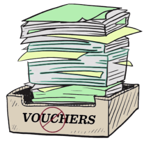 Stack of vouchers, not tickets