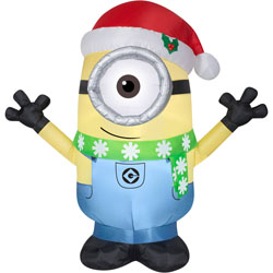 christmas inflatable minion carl w santa hat scarf prop decoration by gemmy 1 - Nightmare Before Christmas Inflatable Lawn Decorations