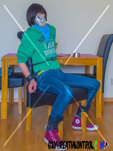 Emo Bound To Chair, Sniffing and Duct Tape Breath Controlled