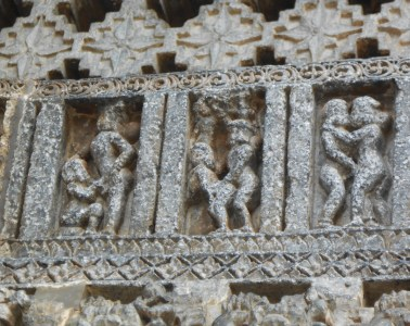 Sculpture on the wall of a temple in Haleebidu
