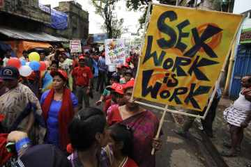 Sex workers rally in Kolkata, India, July 24, 2012