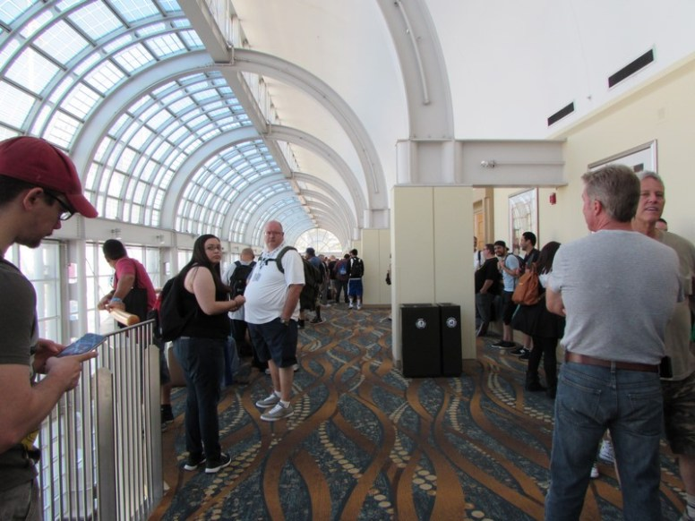 The line to get into the Exhibit Hall went all the way down the hall and curved back.