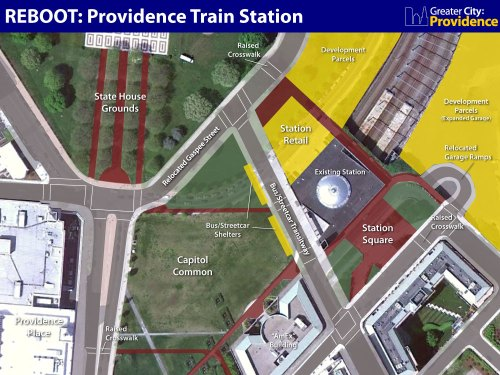 Schematic for a redesigned Providence Train Station area.