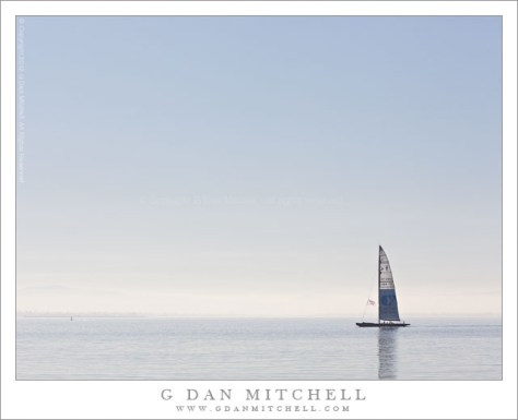 Sail Boat, San Francisco Bay - A sailboat in morning light on the San Francisco Bay, San Francisco, California.