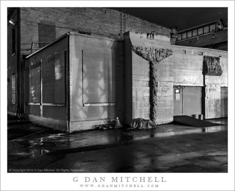 Building 45, Rain and Shadows - Black and white night photograph of Building 45 with rain and shadows, Mare Island Naval Ship Yard