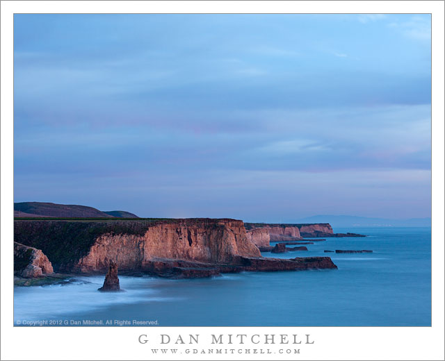Davenport Bluffs, Dusk - Dusk light on a series of bluffs marching south from Davenport, California