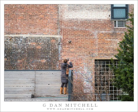 Woman Photographing Brick Wall