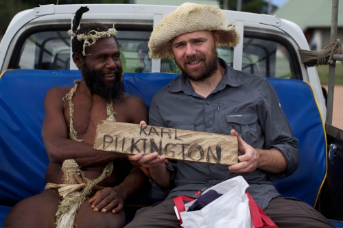Karl hitches a ride with the happiest man on the island. | Image: © Freddie Claire / Sky1 HD