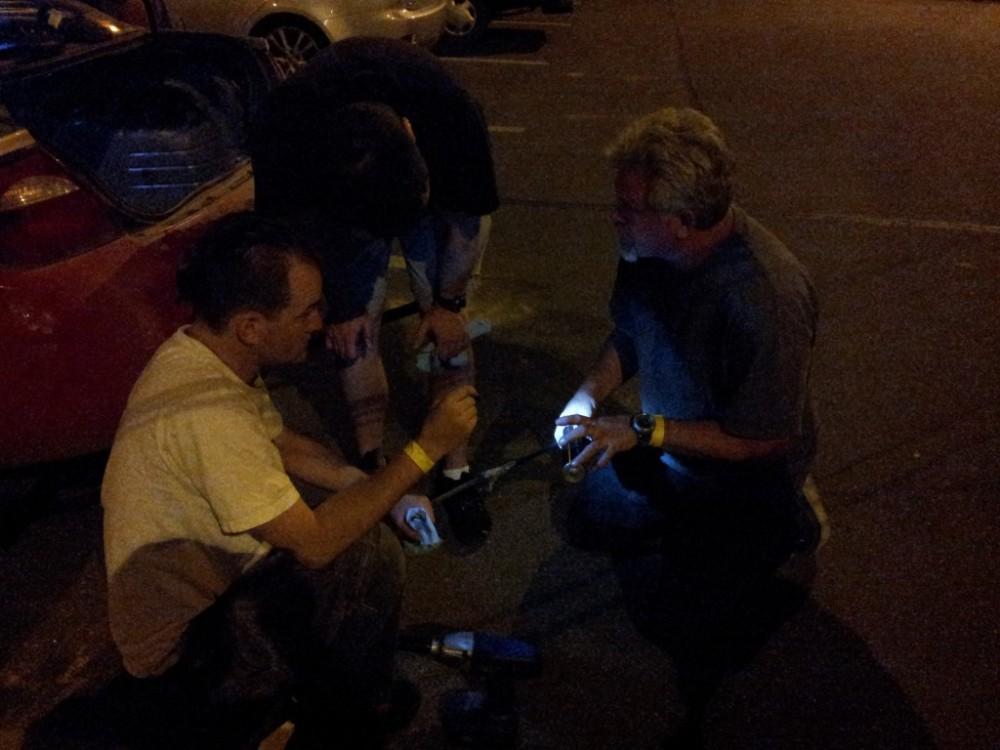 rally strut repair in parking lot