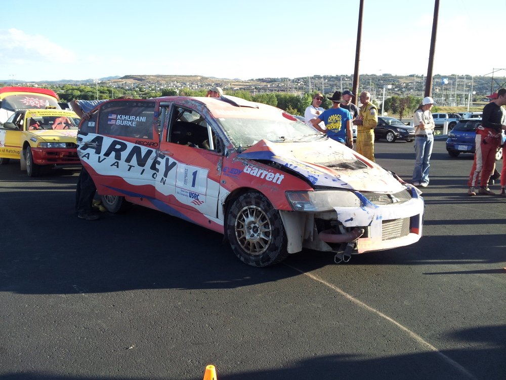 mitsubishi evo rally car wrecked