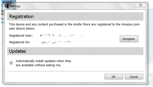 Kindle for PC settings