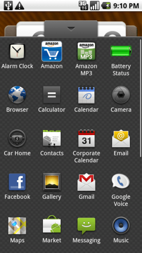 Motorola Droid app screen