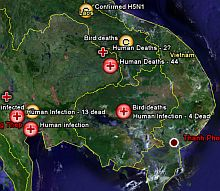 Avian Flu map in Google Earth