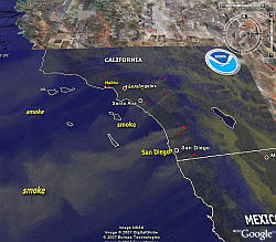 California fires show smoke from space in Google Earth