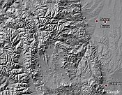 SRTM shaded relief map of terrain in Google Earth