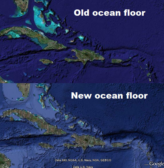 Comparison of old and new Google Earth ocean floor imagery