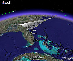 Space Shuttle Atlantis STS 122 Launch Profile in Google Earth