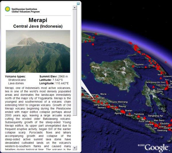 Volcanoes in Google Earth