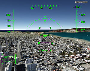 Flight Simulator with 3D Buildings in Google Earth