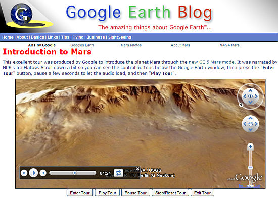 Screenshot of Mars Tour on web page