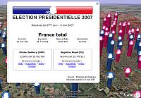 French Presidential Election Results in Google Earth
