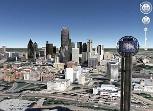 Dallas, Texas in 3D in Google Earth